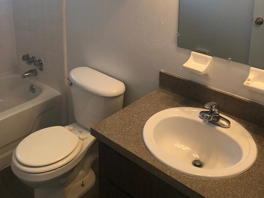 Photo Of An Apartment Bathroom.